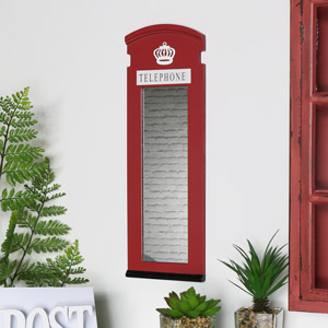 Red London Telephone Box Mirror 15cm x 45cm