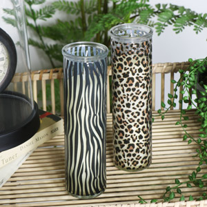 Pair of Tall Safari Print Candle Pots