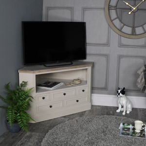 Grey Wooden Corner TV Unit with Drawer Storage - Cotswold Range