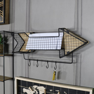 Retro Metal Arrow Wall Shelf with Hooks