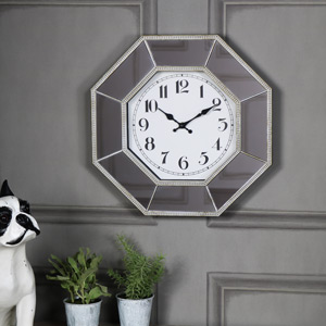 Large Octagonal Mirrored Wall Clock