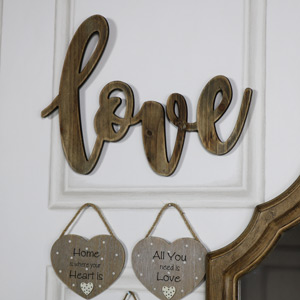 Wooden Cutout 'Love' Plaque