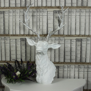 Large White Wall Mounted Stag Head