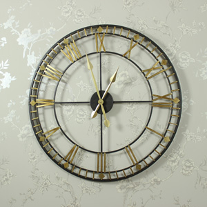 Large Black and Gold Skeleton Wall Clock