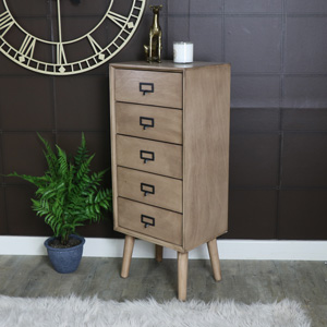 Retro Style Brown Wooden 5 Drawer Tallboy Chest of Drawers - Brixham Range