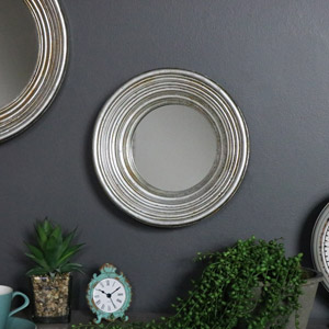 Rustic Round Silver Wall Mirror
