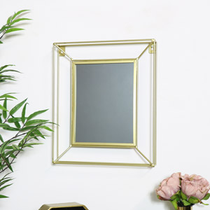 Small Metal Gold Framed Wall Mirror