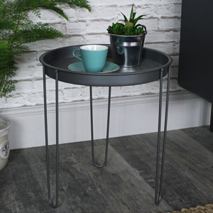 Grey Metal Tray Table
