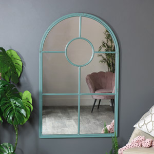 Large Rustic Grey Metal Arched Wall Mirror 79cm x 124cm