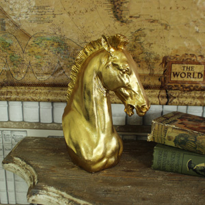 Gold Resin Horse Head