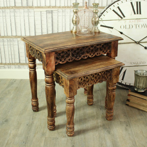 Set of 2 Brown Wooden Ornate Carved Nested Tables