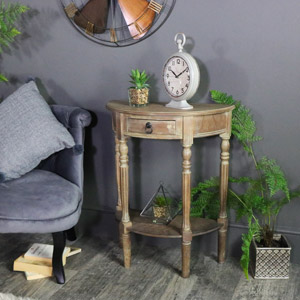 Wooden Half Moon Side Table