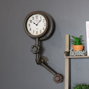 Rustic Industrial Pipework Style Wall Clock
