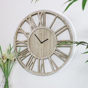 Rustic Wooden Skeleton Clock with Silver Trim Frame