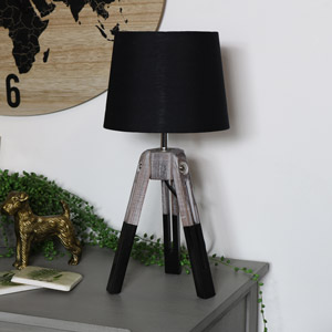 Rustic Tripod Style Table Lamp