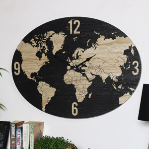Large Black/Rustic Oval Atlas Wall Clock