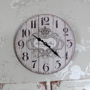 Vintage Grey French Style Wall Clock