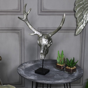 Silver Skull Stag Bust Ornament