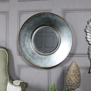 Large Round Grey Wall Mirror 60cm x 60cm