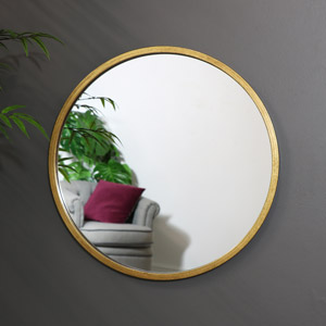 Large Round Gold Wall Mirror 50cm x 50cm