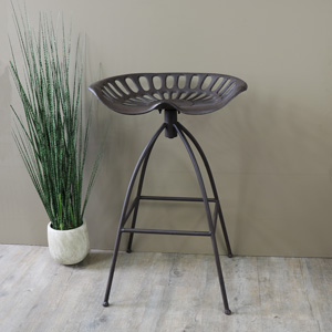 Brown Metal Tractor Seat Kitchen Bar Stool