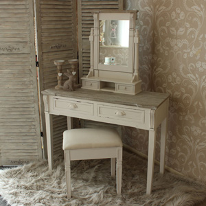 Cream Dressing Table, Mirror and Stool Dresser Set - Lyon Range