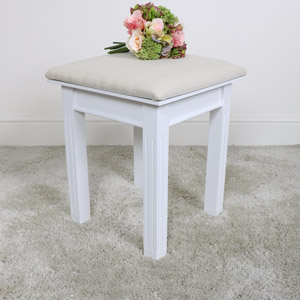 White Dressing Table Stool - Daventry White Range