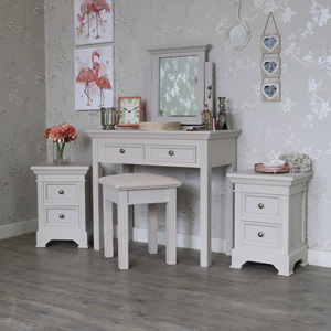 Furniture Bundle Pair of Bedside Tables, Dressing Table, Stool and Mirror - Daventry Grey Range