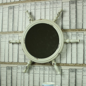 Aged Cream Metal Nautical Ship's Helm Wall Mirror 58cm x 58cm