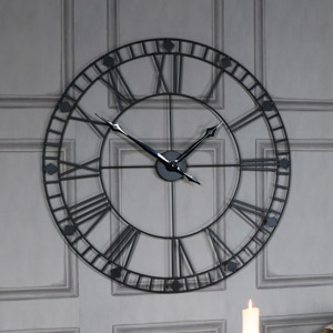 Black Iron Skeleton Wall Clock