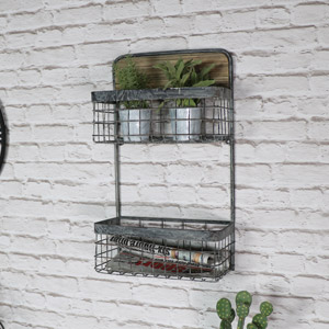 Grey Metal Double Basket Wall Shelf