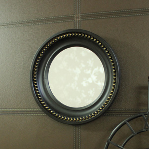 Small Black Beaded Effect Round Wall Mirror 25cm x 25cm