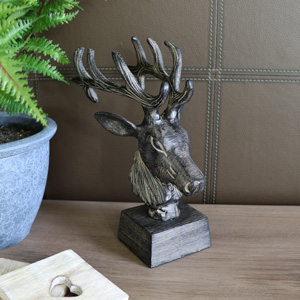 Wood Effect Stag Head Sculpture