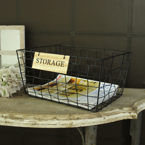 Black Metal Wire Storage Basket