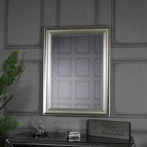 Large Antique Silver Framed Bevelled Wall Mirror