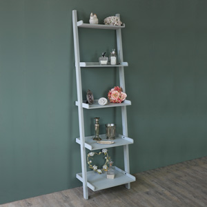 Tall Grey Wooden Ladder Style Bookcase Display Shelves