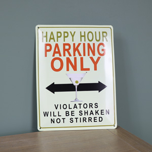 'Happy Hour' Metal Wall Plaque