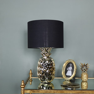 Gold Pineapple Table Lamp with Black Cotton Shade