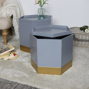 Pair of Grey & Gold Hexagon Storage Tables