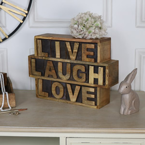 Rustic Wooden Keepsake Chest 'Live Laugh Love'
