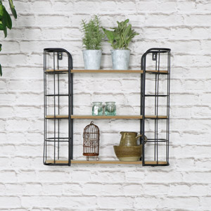 Rustic Industrial Metal Wall Shelves