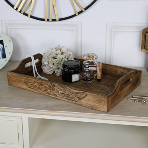 Large Rustic Carved Mango Wood Serving Tray