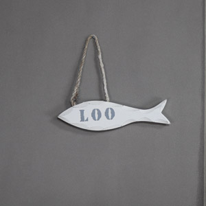 White 'Loo' Fish Door Sign