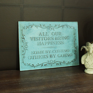 Duck Egg Blue Embossed Metal Wall Plaque