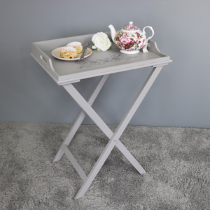 Grey Wooden Ornate Butler's Tray Table