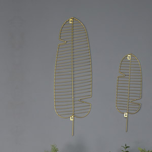 Large Wire Gold Leaf Wall Art Decoration