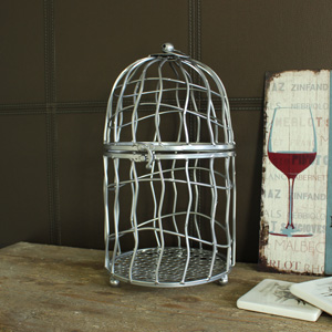 Large Silver Metal Decorative Bird Cage Candle Holder Lantern