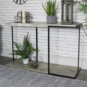 Large Industrial Concrete Style Console Table