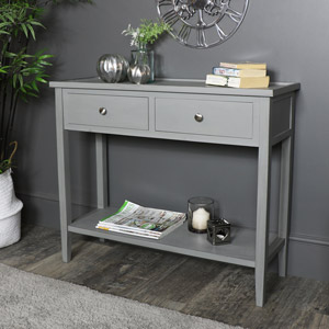 Grey 2 Drawer Console Table