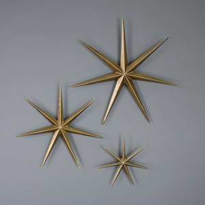 Set of 3 Gold Ornamental Wall Stars